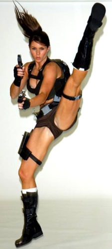 Lara Croft topless kick