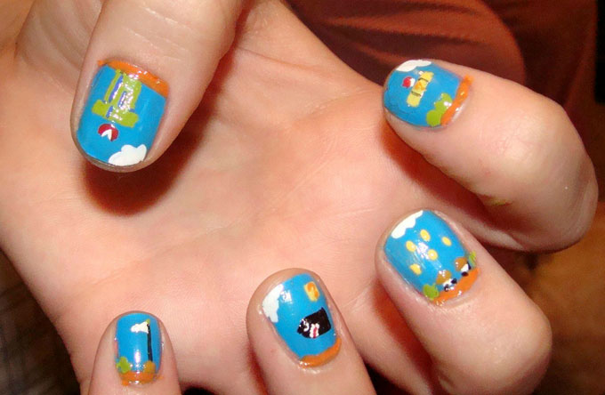 Video game painted nails