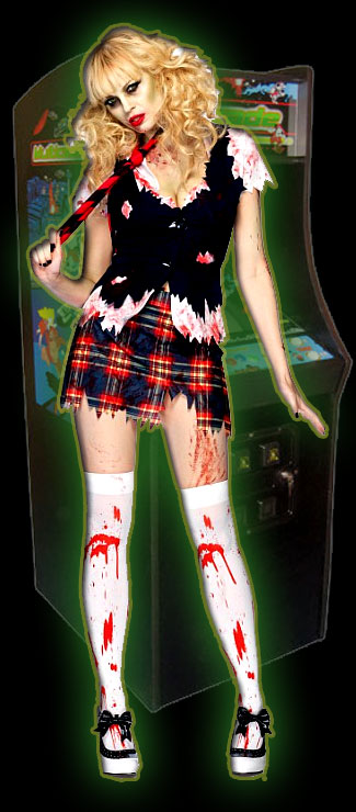 Schoolgirl zombie at the arcade