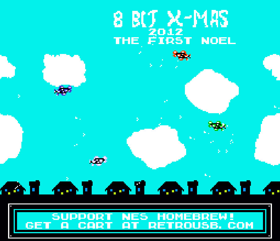 Start up screen for 8-Bit Xmas on NES
