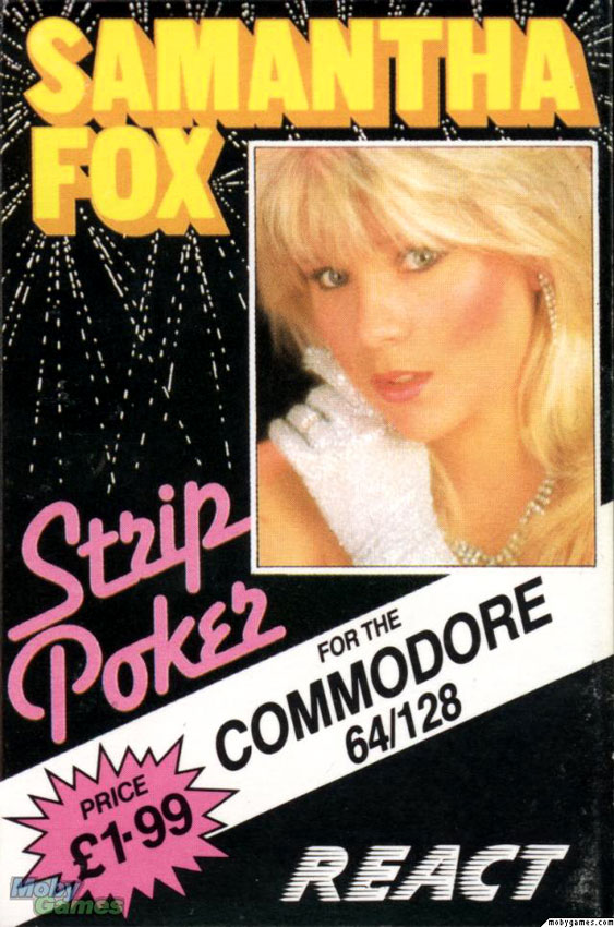 Samantha Fox on the cover of Strip Poker for Commodore 64