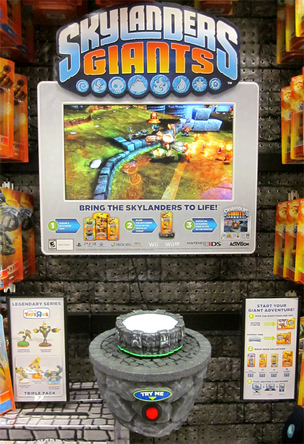 Skylanders Giants Demo station in Toys R Us game aisle