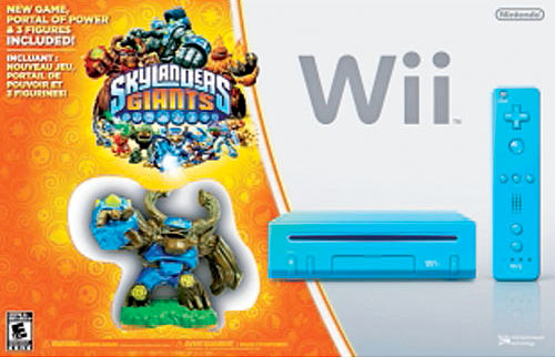 Blue Wii console and Skylanders Giants bundle