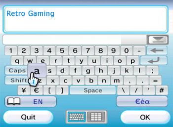 Wii on-screen keyboard