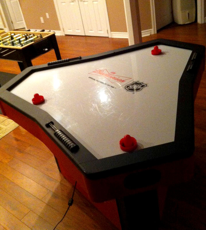 3-player air hockey table