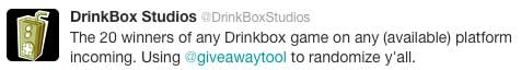 Drinkbox Studios contest Tweet