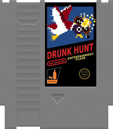 Ink Whiskey's Drunk Hunt NES cart inspired Entertainment Flask