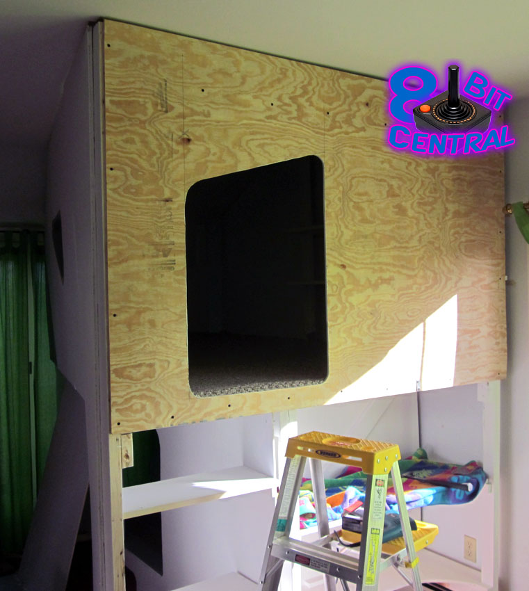 The Game Fortress is a custom built 2-story retro gaming bed fort, children's room