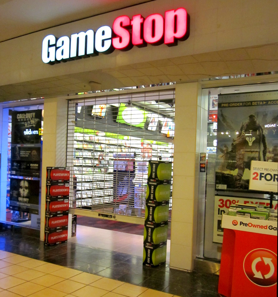 The security gate was down when we arrived at GameStop