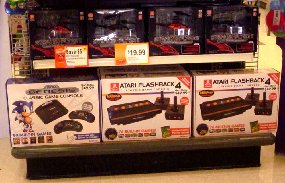 My local grocery store is selling Sega and Atari Flashback video game consoles with built-in games