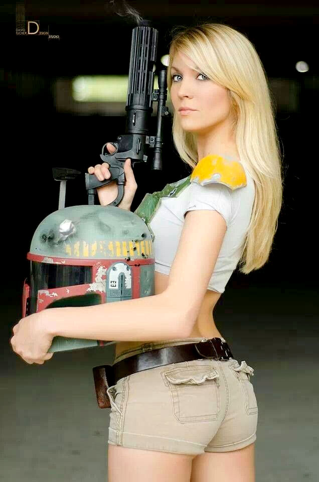 Heather 1377 coslaying as Boba Fett