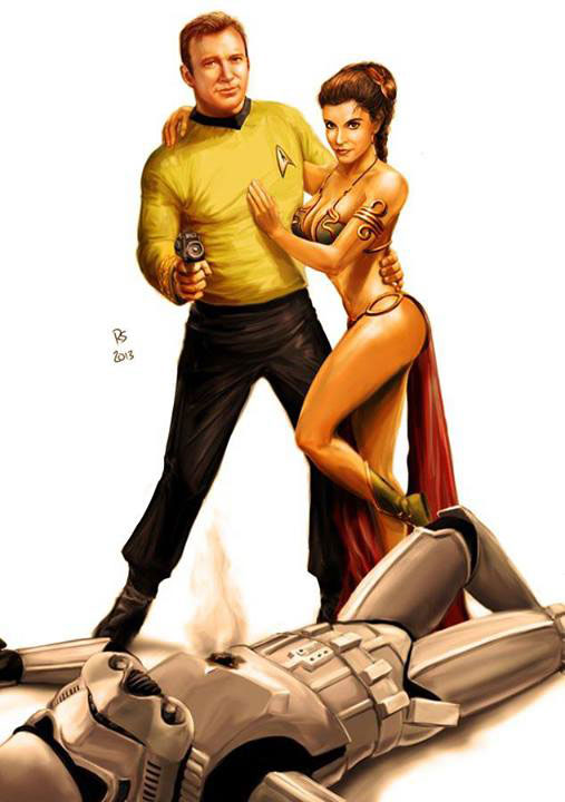 Captain Kirk Saves Princess Leia from a Stormtrooper