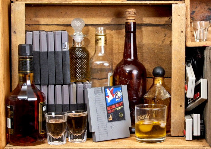 Ink Whiskey's NES cart inspired Entertainment Flask