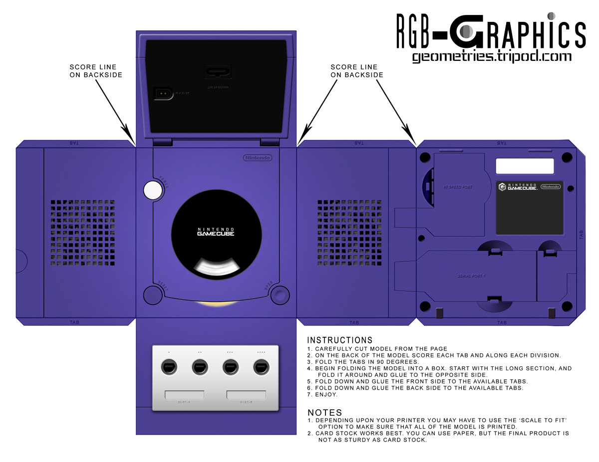 paper model of a GameCube