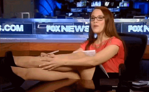 S.E. Cupp with her feet up on the Fox News desk
