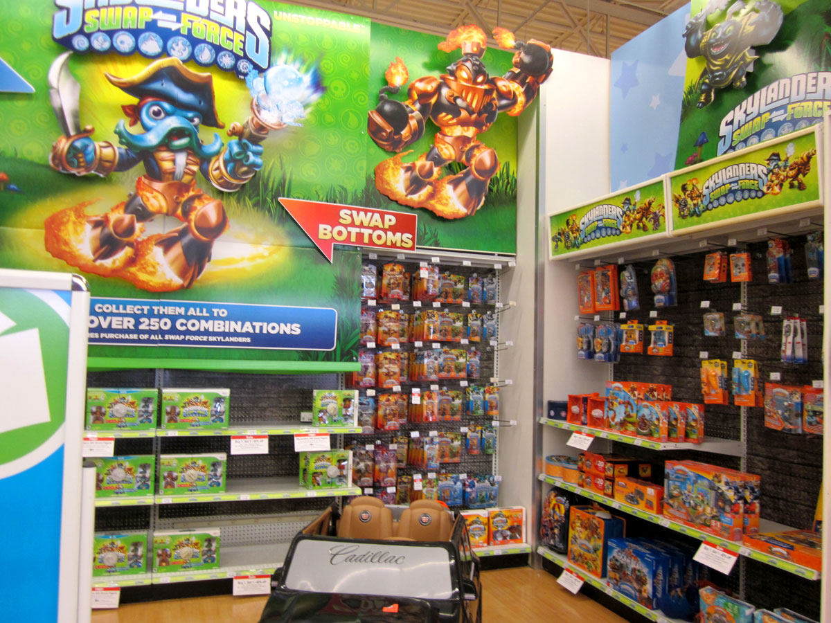 Skylanders Swap Force release day display at Toys R Us