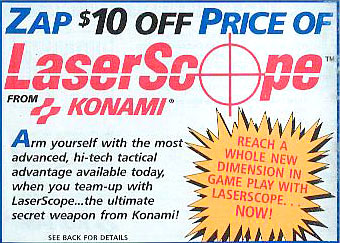 Coupon for the Konami LaserScope on the back of the Laser Invasion manual