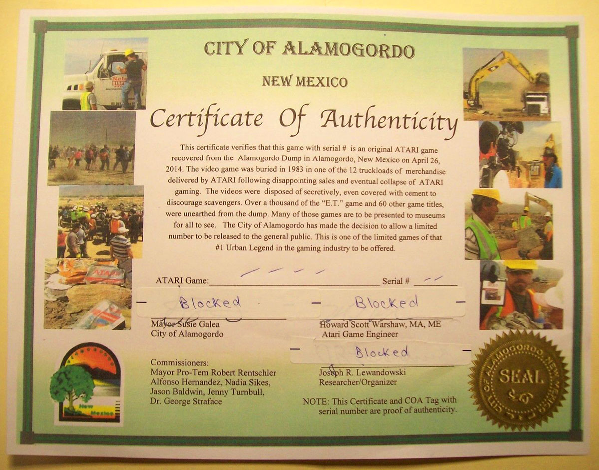 The Alamogordo certificate of authenticity for the excavated Atari games