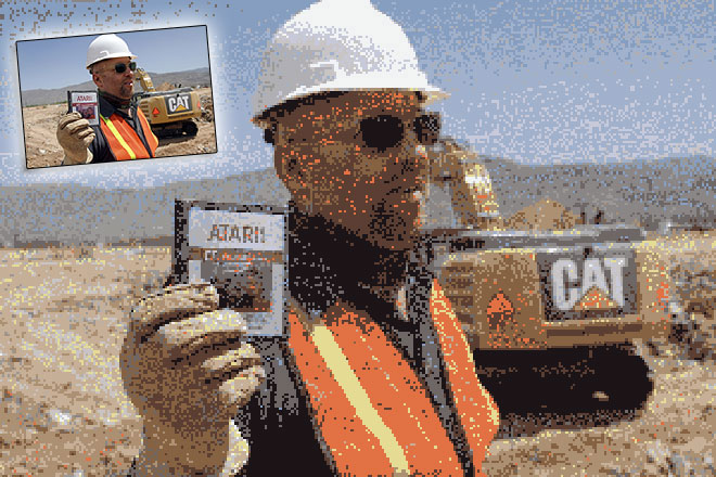 pixelated image of the Atari landfill dig in New Mexico