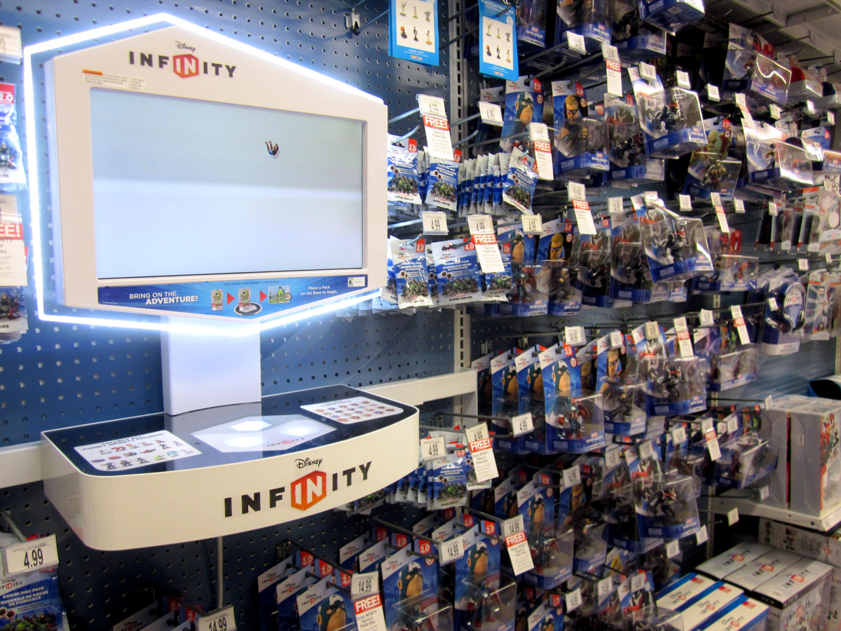 The Disney Infinity aisle at Toys R Us