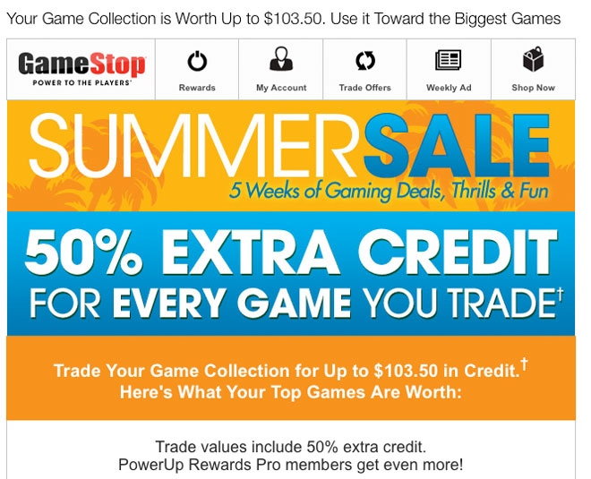 GameStop email about game trade-ins