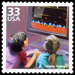 Children playing Defender on the video games stamp for the Celebrate the Century series