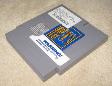 BlockBuster rental stickers on an NES game