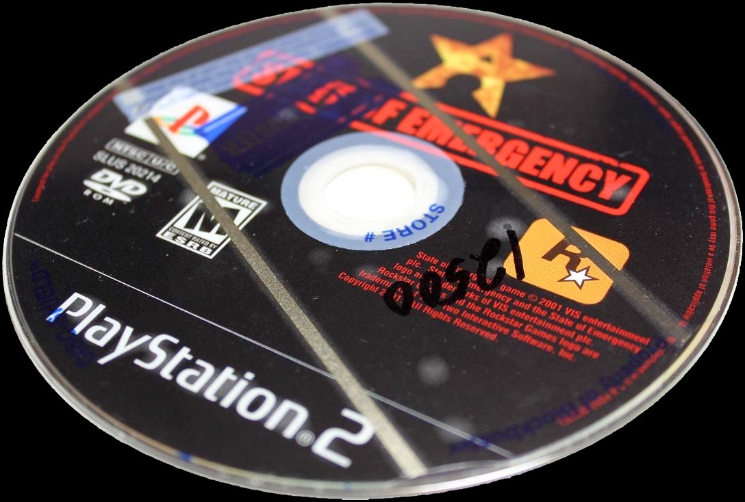 BlockBuster rental stickers on a PS2 game