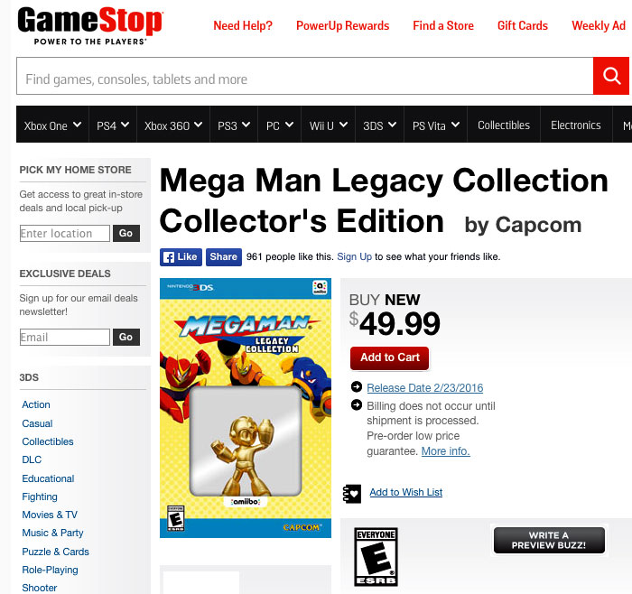 Mega Man Legacy Collection for 3ds and gold amiibo