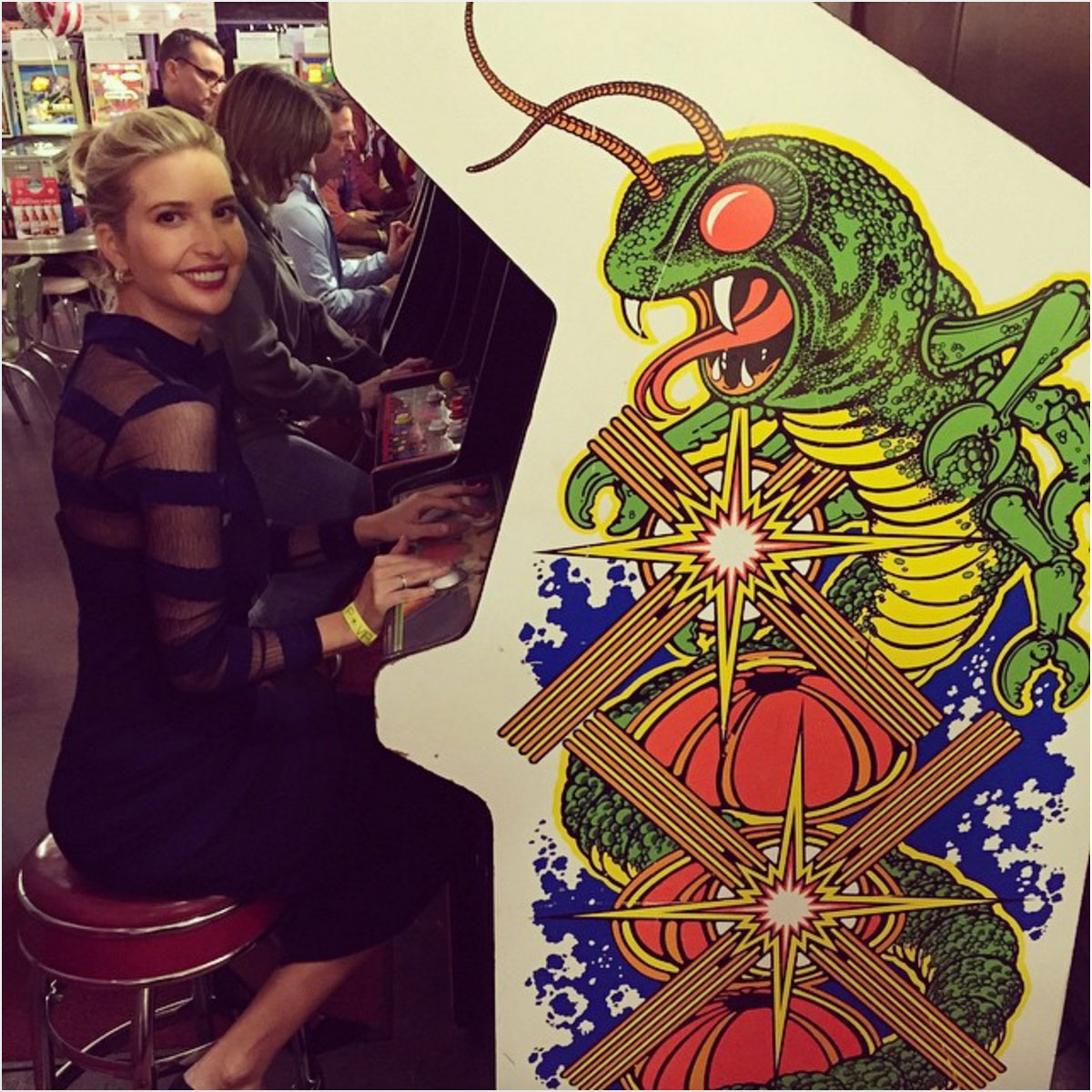 Ivanka Trump playing Centipede in an Asbury Park arcade