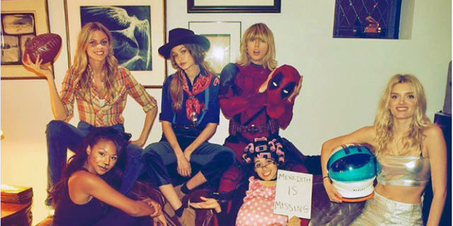 Taylor Swift wearing the original Deadpool costume
