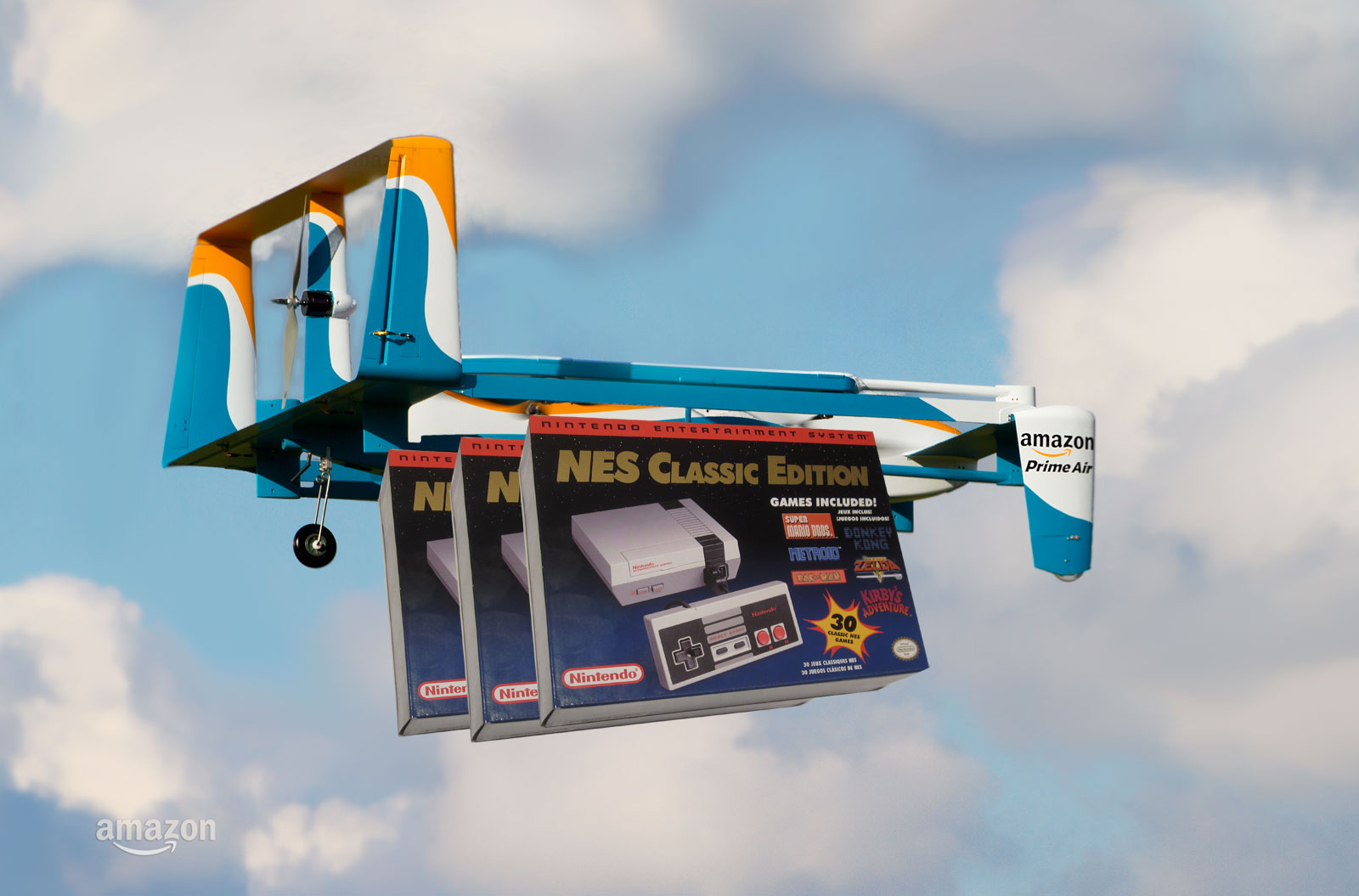 NES Classic Edition on an Amazon delivery drone