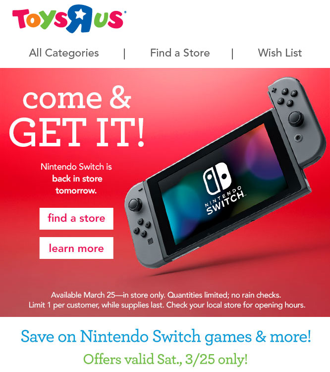 Toys R Us emails customers about Switch restocking