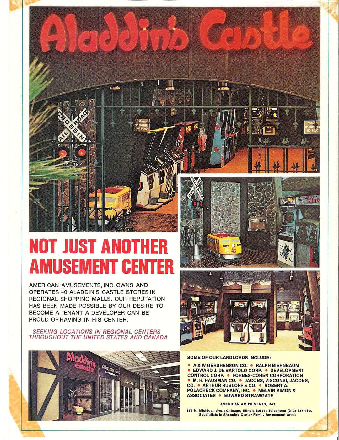 Aladdins Castle Arcade ad