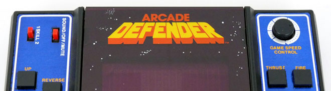 Defender handheld video game