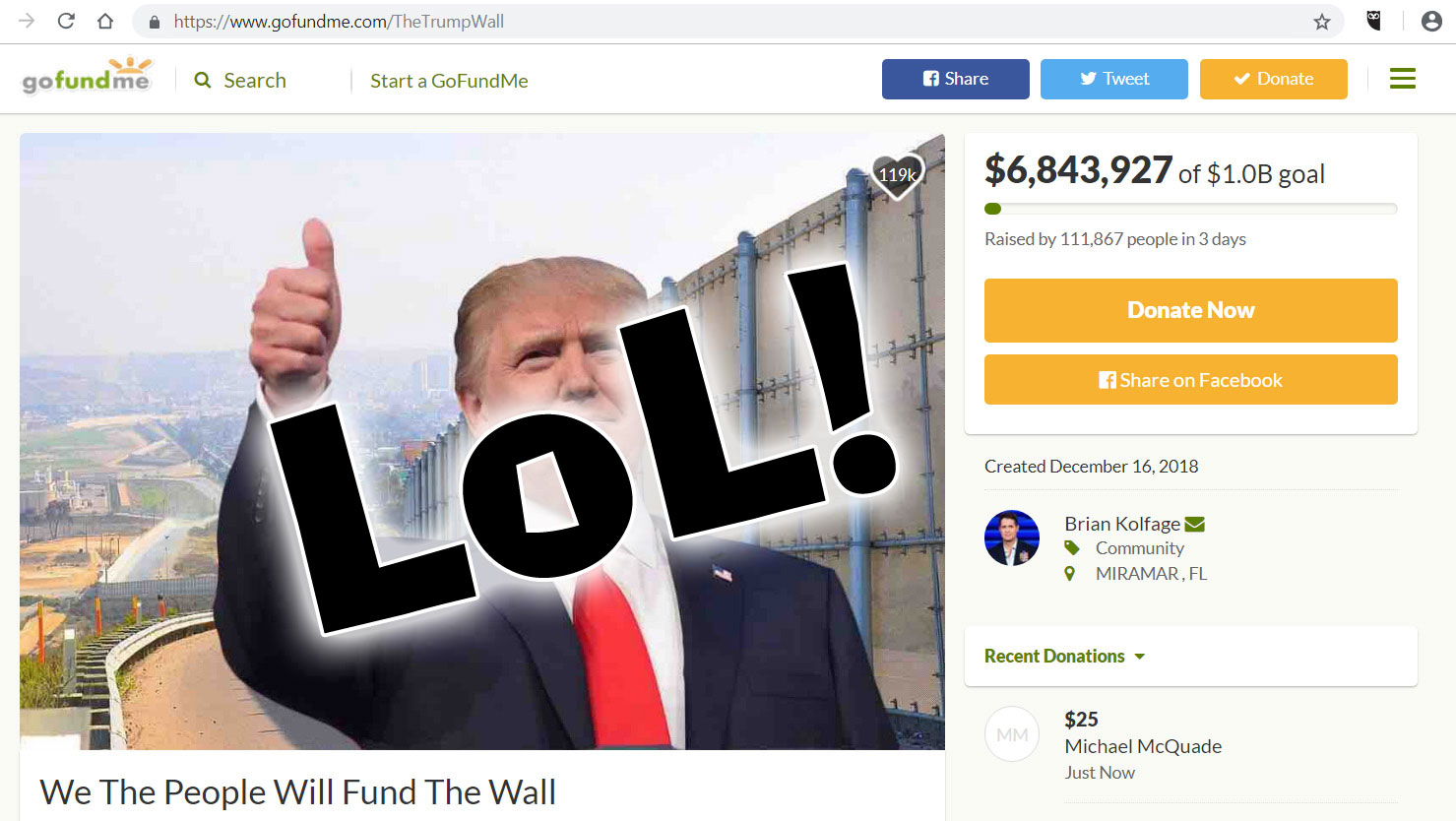 Trump supporters are privately funding a wall