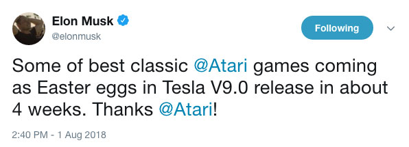 Classic video games on Tesla tweet