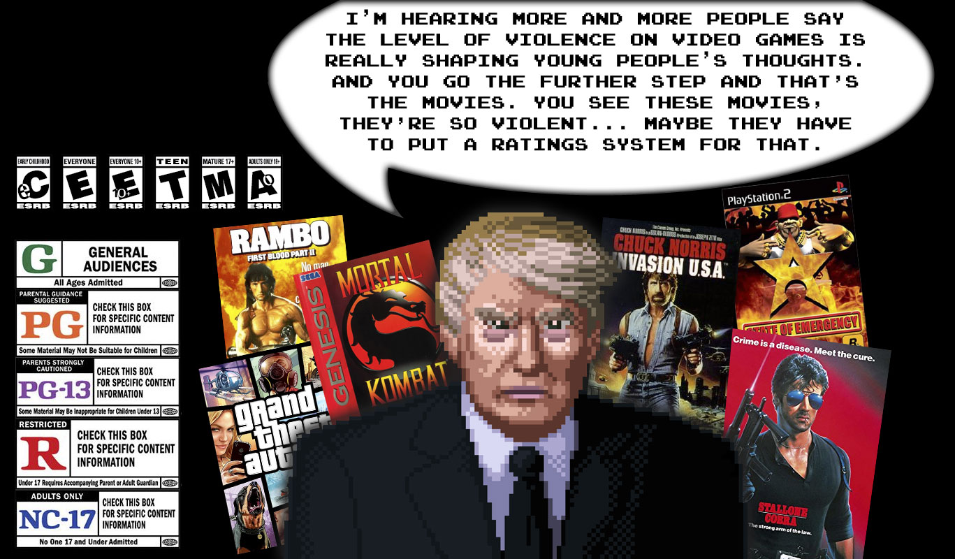 Trump is unaware of either the ESRB or MPAA ratings systems