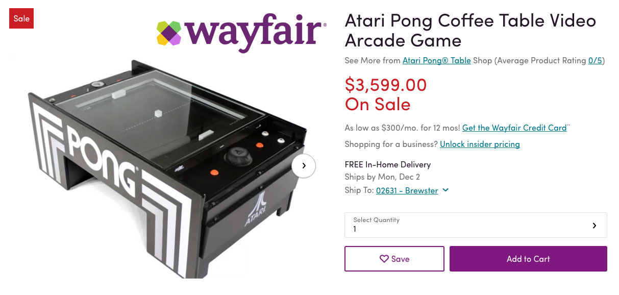 Wayfair has the Atari Pong Table