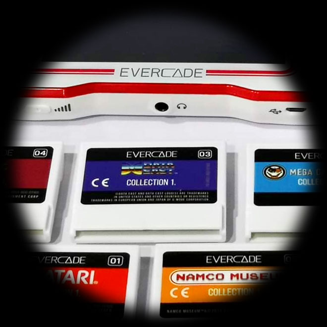Evercade handheld and game cartridges