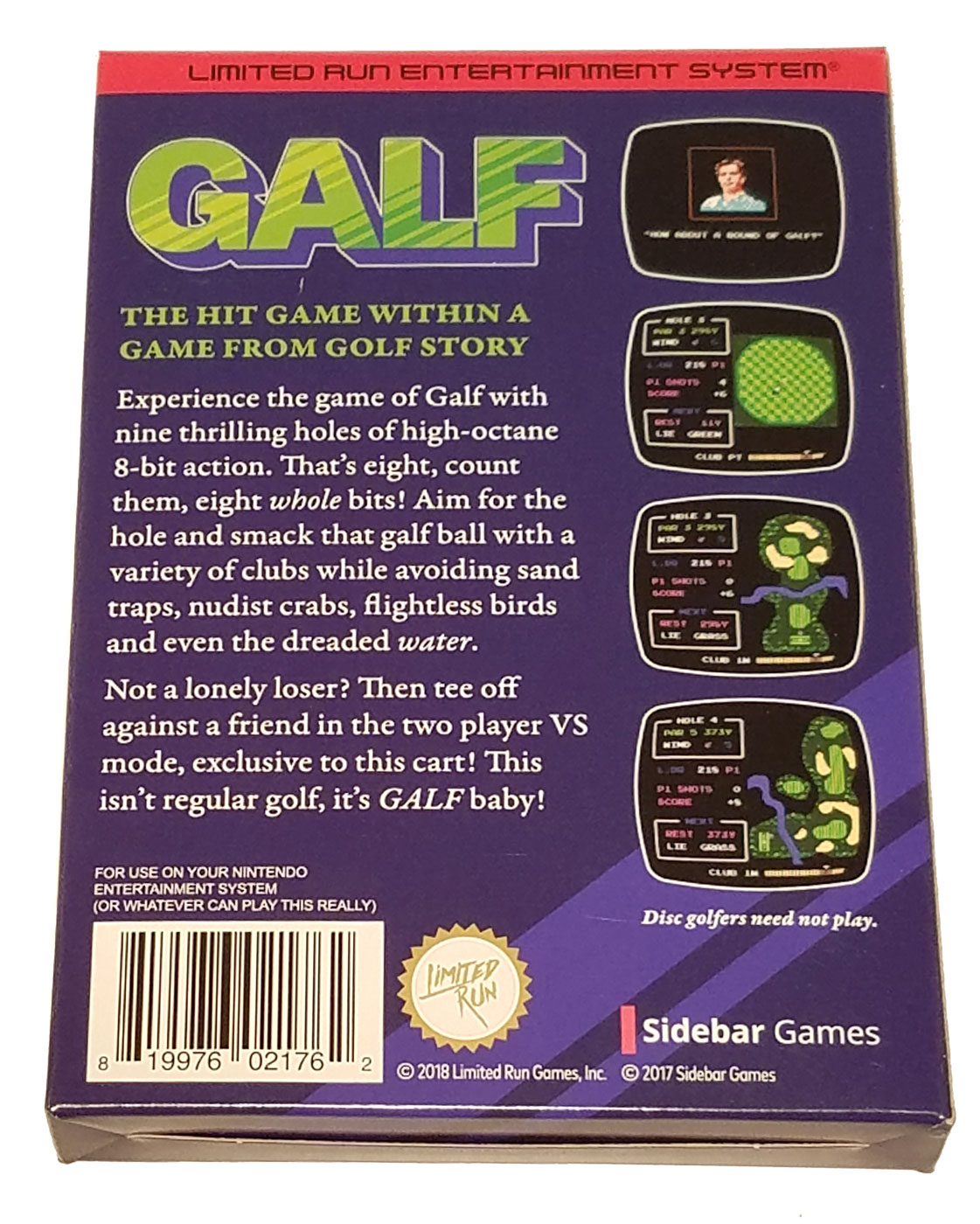 The back of the Galf box