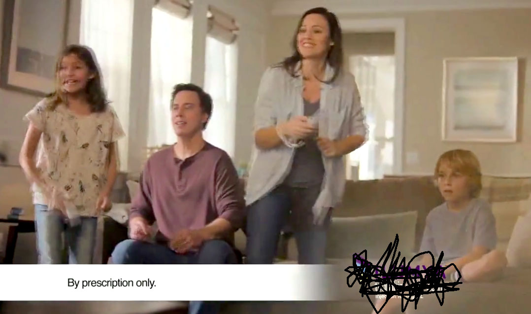 Pharmaceutical ad shows a family playing Wii games