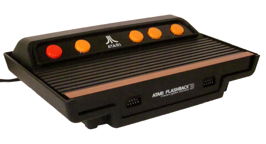 the atari flashback 3 is a miniaturized 2600 console w simulated vcs joysticks and built in games. Black Bedroom Furniture Sets. Home Design Ideas