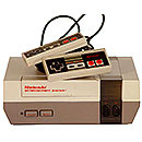 Nintendo NES console with controllers