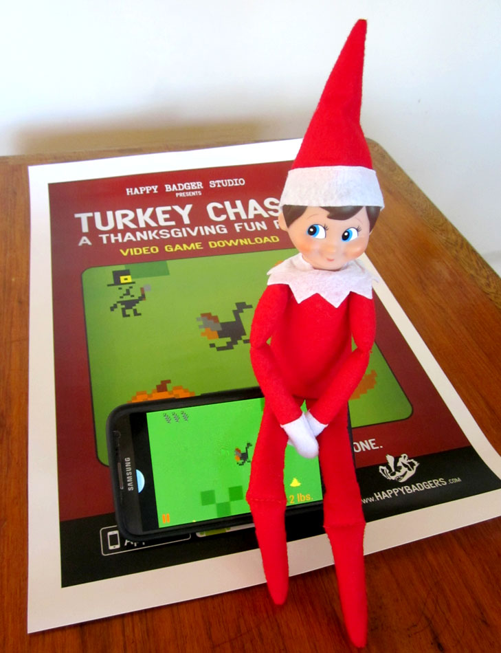 Elf on a Shelf playing Turkey Chase by Happy Badger Studio
