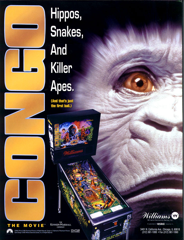 Congo pinball flyer from Williams Electronics Games