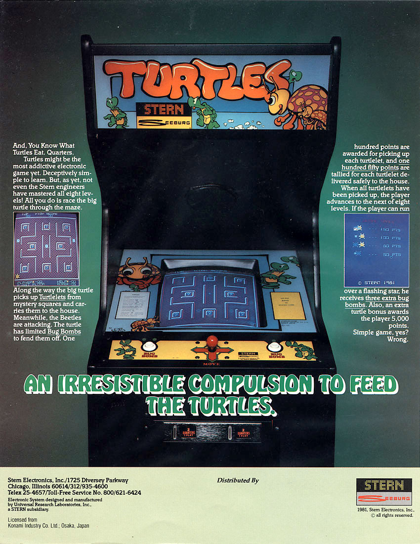 Stern's turtles arcade game flyer