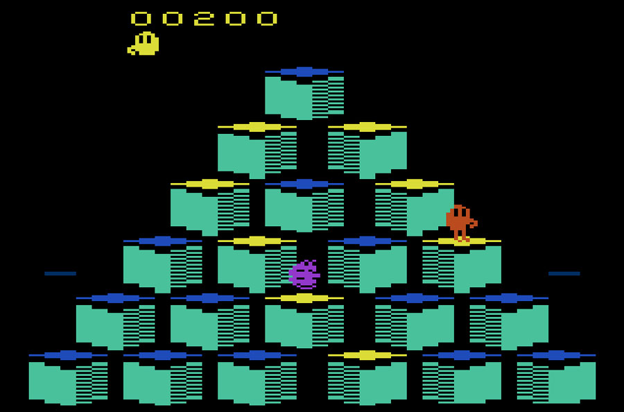 Parker Brothers Q*bert for Atari 2600 screenshot Classic Retro Gaming Video Game Review