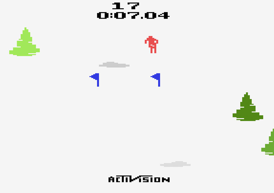 Activision's Skiing for Atari 2600 screenshot Classic Retro Gaming Video Game Review