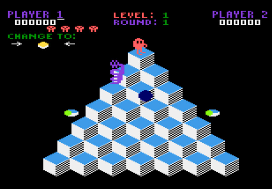 Parker Brothers Q*bert for Atari 5200 screenshot Classic Retro Gaming Video Game Review